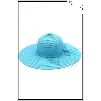 Chapeau  - Haute qualité - Liseré cordelette - Bleu ciel