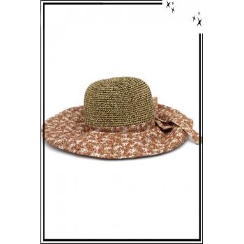 Chapeau - Haute qualité - Noeud arrière - Petites fleurs fond marron