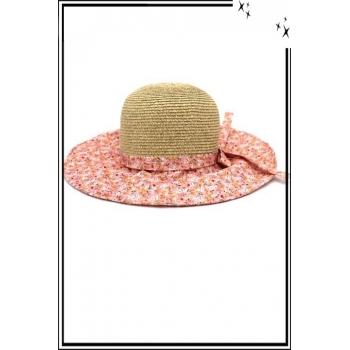 Chapeau  - Haute qualité - Noeud arrière - Petites fleurs fond rose
