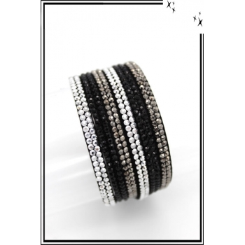 Bracelet - Double tour - Bi-color - Noir / Gris