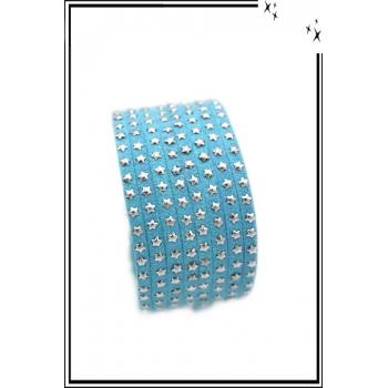 Bracelet - Double tour - Etoiles - Bleu ciel