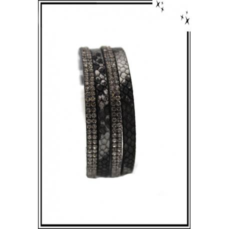 Bracelet - Double tour - Fermeture aimant - Serpent - Noir