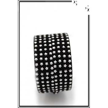 Bracelet - Double tour - Etoiles - Noir