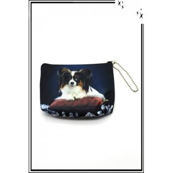 Petit porte monnaie - Double face - Chihuahua papillon sur coussin