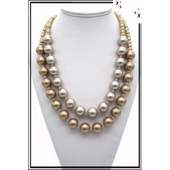 Collier - Perles nacrées - Bronze / Doré