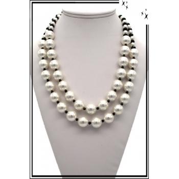 Collier - Perles nacrées - Blanc / Noir