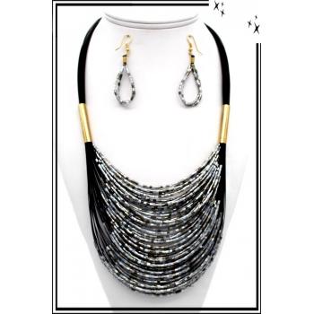 Parure - Petites perles - Argent / Gris