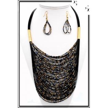 Parure - Petites perles - Noir / Cuivre / Argent
