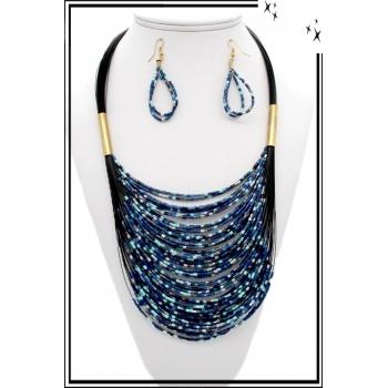 Parure – Petites perles – Bleu / Bleu ciel