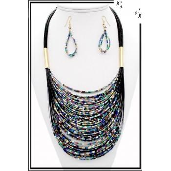 Parure - Petites perles - Multicolore