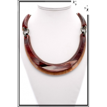 Collier - Résine - Marron / Rouge
