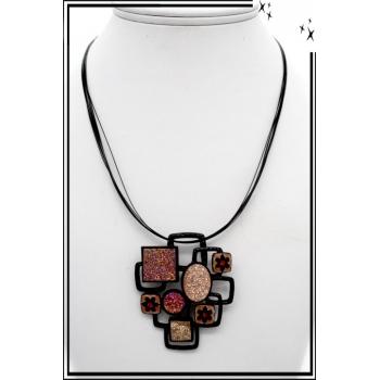 Collier - Nylon - Motifs - Géométriques - Strass - Rose / Cuivré