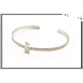 Bracelet - Jonc - Oiseau - Argent