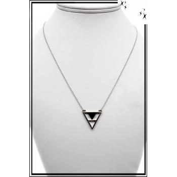 Collier - Motif - Triangle - Noir / Argent