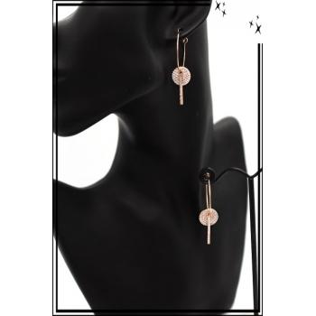 Boucles d'oreilles - Rond et barre strass - Cuivré