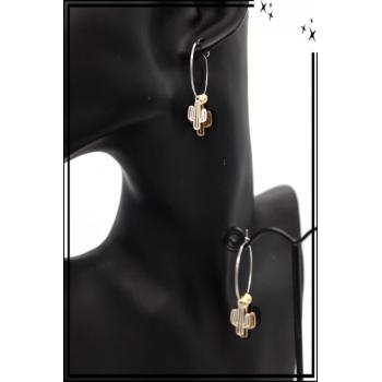 Boucles d'oreilles - Filigrane - Triple cactus - Argent / Doré / Noir