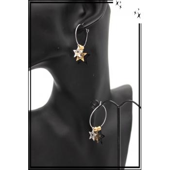 Boucles d'oreilles - Filigrane - Triple étoiles - Argent / Doré / Noir