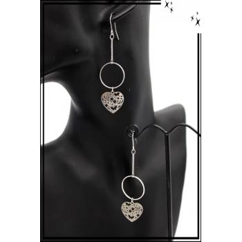 Boucles d'oreilles - Filigrane - Coeur - Papillons - Argent