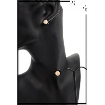 Boucles d'oreilles - Petit rond - Strass - Doré
