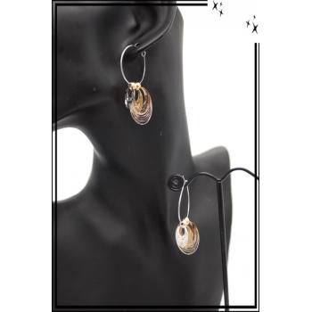 Boucles d'oreilles - Filigrane - Triple ronds - Argent / Doré / Cuivré