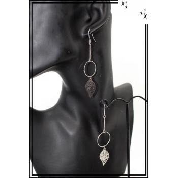 Boucles d'oreilles - Filigrane - Feuille ajourée - Argent