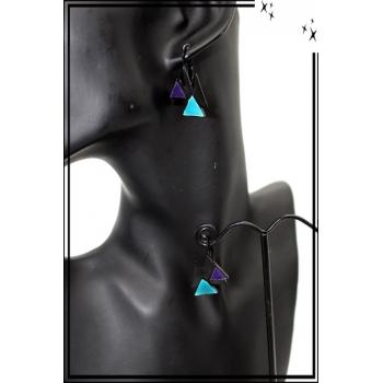 Boucles d'oreilles - Triangles - Bleu / Vert / Violet