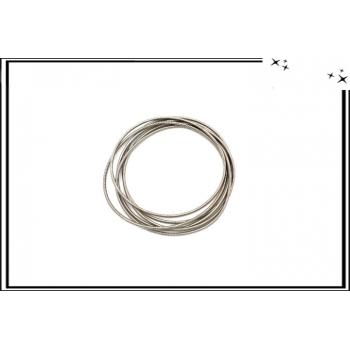 Bracelets - Elastiques - Ressort - Argent x6