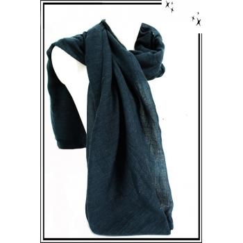 Foulard - Uni - Petites franges - Bleu vert