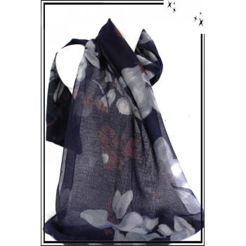 Foulard - Fleurs dessinées - Touches de bordeaux - Bleu marine / Blanc