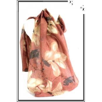 Foulard - Fleurs dessinées - Touches de noir - Rose poudré / Beige