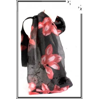 Foulard - Fleurs dessinées - Touches de noir - Gris / Rose poudré