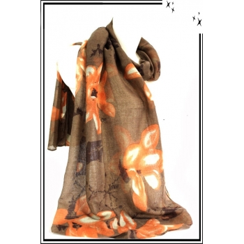 Foulard - Fleurs dessinées - Touches de marron - Chocolat / Orange