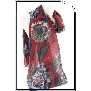 Foulard - Chardons dessinés - Fond rouge
