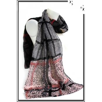 Foulard - Quadrillage - Moucheté - Gris / Rose / Noir