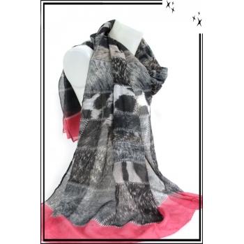 Foulard - Pièces de tissus - Moucheté - Gris / Rose