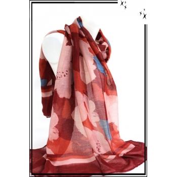 Foulard - Grosses fleurs dessinées - Rouge