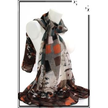 Foulard - Carrés tailles diverses - Marron / Orange