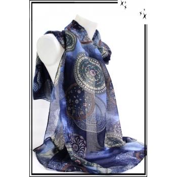 Foulard - Rosaces - Fond Bleu