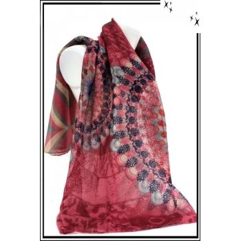 Foulard - Rosaces - Coeurs - Rose