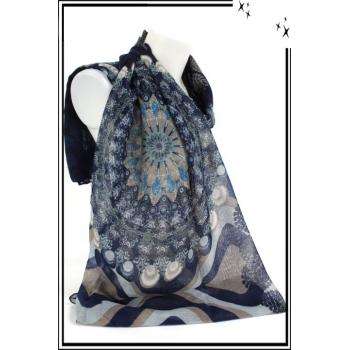 Foulard - Rosaces - Coeurs - Bleu