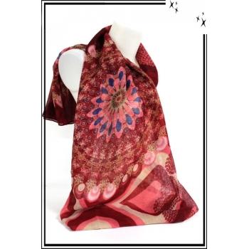 Foulard - Rosaces - Coeurs - Rouge