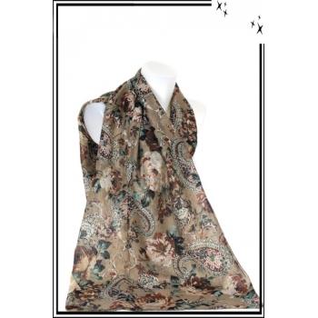Foulard - Mandalat - Fleurs - Fond beige