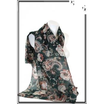 Foulard - Mandalat - Fleurs - Fond vert