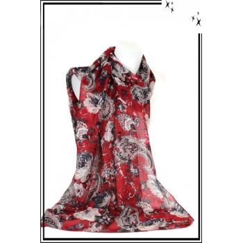 Foulard - Mandalat - Fleurs - Fond rouge