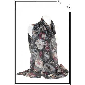 Foulard - Mandalat - Fleurs - Fond gris