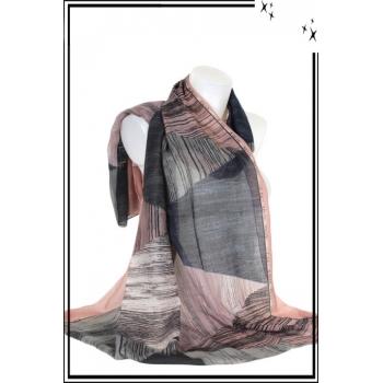 Foulard - Imprimé - Triangle - Rose - Gris - Bleu