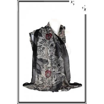 Foulard - Fleuri - Bordure noire