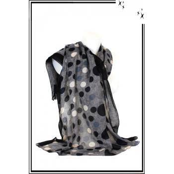 Foulard - Petits / Gros - Pois - Bordure noire