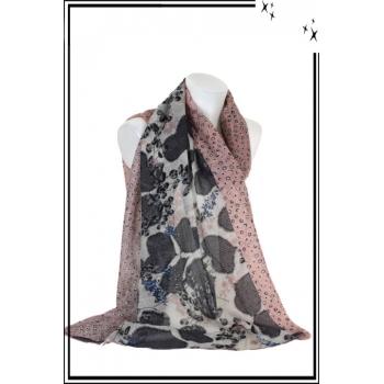 Foulard - Fleuri - Cœur - Bordure - Petits - Pois - Bi - color - Rose