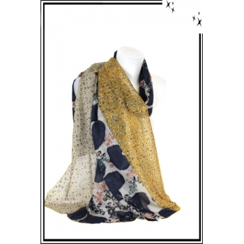 Foulard - Fleuri - Cœur - Bordure - Petits - Pois - Bi - color - Moutarde
